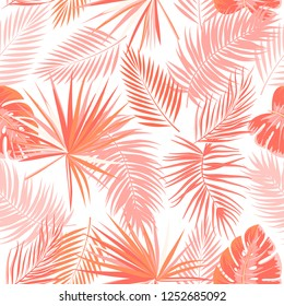 Tropical vector seamless pattern in Living Coral color. Main trend concept. Botany design, jungle leaves of palm tree.