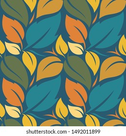 Tropical vector warm color leaves. Tropical seamless amazing graphic design. Abstract background vector design. Seamless pattern with colorful tropical leaves and plants on a delicate background