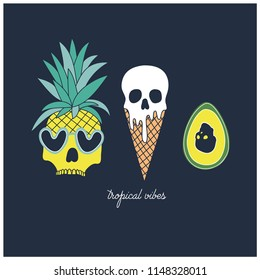 Tropical vibes. Funny hand drawn for summer.Summer elements vector print.Pineapple, avocado, ice cream hand drawing.