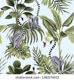 Tropical vintage animal lemur, palm trees, banana tree, palm leaves floral seamless pattern blue background. Exotic jungle wallpaper.
