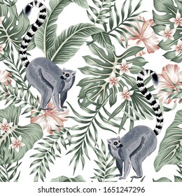 Tropical vintage animal lemur, plumeria hibiscus flower, palm leaves, banana leaves floral seamless pattern white background. Exotic jungle wallpaper.