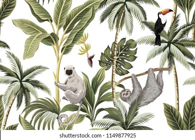 Tropical vintage animals, toucan, palm trees, banana tree floral seamless pattern white background. Exotic jungle wallpaper.