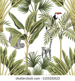 Tropical vintage animals, toucan, palm trees, banana tree floral seamless pattern white background. Exotic botanical jungle wallpaper.