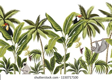 Tropical vintage animals, toucan, parrot, palm trees, banana tree floral seamless border white background. Exotic jungle wallpaper.