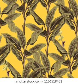 Tropical vintage banana trees floral seamless pattern yellow background. Exotic botanical jungle wallpaper.