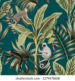 Tropical vintage banana trees, plants, palm leaves, lemur, monkey floral seamless pattern green background. Exotic jungle wallpaper.