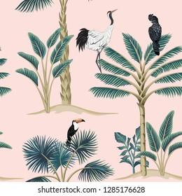 Tropical vintage botanical animal crane, parrot, toucan floral palm tree seamless pattern pink background. Exotic jungle wallpaper.