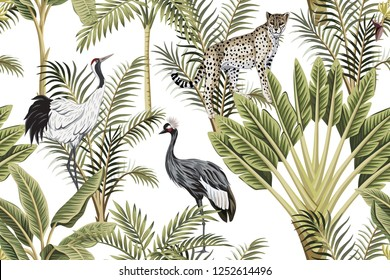 Tropical vintage botanical green palm tree, banana tree, crane and leopard floral seamless pattern white background. Exotic jungle wallpaper.
