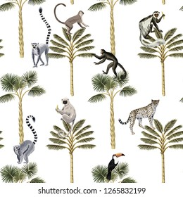 Tropical vintage botanical green palm tree,  lemur, monkey, toucan and leopard floral seamless pattern white background. Exotic jungle wallpaper.