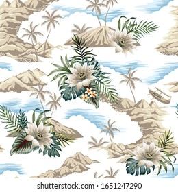 Tropical vintage botanical island, palm tree, mountain, boat, palm leaves, lotus flower summer floral seamless pattern white background.Exotic jungle wallpaper.
