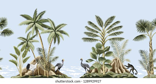 Tropical vintage botanical landscape, island, mountain, palm tree, plant, crane, monkey, sea wave floral seamless pattern blue background. Exotic green jungle animal border.
