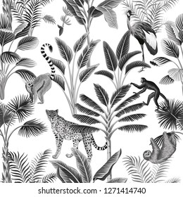 Tropical vintage botanical landscape, palm tree, sloth, monkey, leopard and crane floral seamless pattern white background. Exotic black and white jungle animal wallpaper.