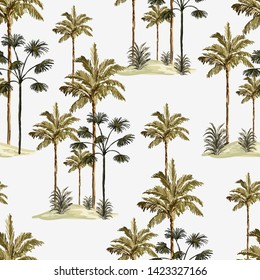 Tropical vintage  botanical landscape, palm tree, banana tree, plant floral seamless border on a white background. Exotic green jungle wallpaper.Perfect for wallpapers,web page backgrounds