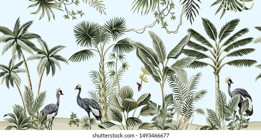 Tropical vintage botanical landscape, palm tree, liana, plant, crane bird floral seamless border blue background. Exotic green jungle animal wallpaper.