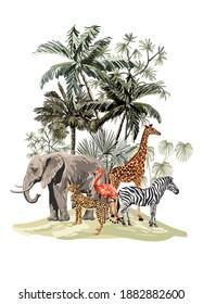 Tropical vintage botanical landscape, palm tree, plant, palm leaves, sloth, giraffe, elephant, flamingo, zebra, leopard.  Jungle floral composition animal wallpaper.