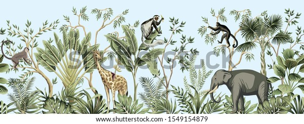 Tropical vintage botanical landscape, palm tree, banana tree, plant, palm leaves, giraffe, monkey, elephant floral seamless border blue background. Jungle animal wallpaper.