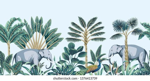 Tropical vintage botanical peacock bird, elephant animal, palm tree and plant floral seamless border blue background. Exotic jungle wallpaper.
