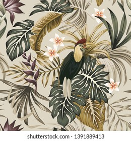 Tropical vintage exotic bird, hibiscus flower, strelitzia, palm leaves floral seamless pattern grey background. Exotic jungle wallpaper.