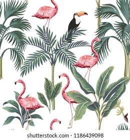 Tropical vintage flamingo, toucan, palm trees, banana tree floral seamless pattern white background. Exotic botanical jungle wallpaper.