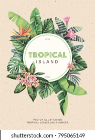 Tropical vintage flyer with palm leaves and exotic flowers. Round frame. Vector illustration.