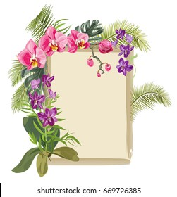 Tropical vintage frame with bouquet red, purple orchids, flowers and buds, green palm, bamboo, monstera leaves on white background, digital draw illustration, template for design, vector
