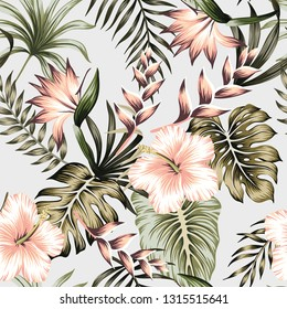 Tropical vintage green floral palm leaves pink hibiscus, strelitzia flower seamless pattern grey background. Exotic jungle wallpaper.