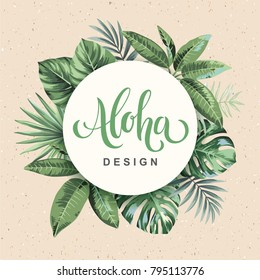 Tropical vintage Hawaiian flyer with palm leaves. Round frame. Vector illustration.