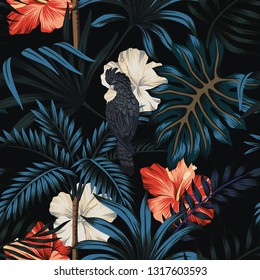 Tropical vintage Hawaiian night, dark palm trees, black parrot, palm leaves floral seamless pattern black background. Exotic jungle wallpaper.