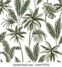 Tropical vintage Hawaiian palm trees, banana and palm leaves floral seamless pattern white background. Exotic jungle wallpaper.