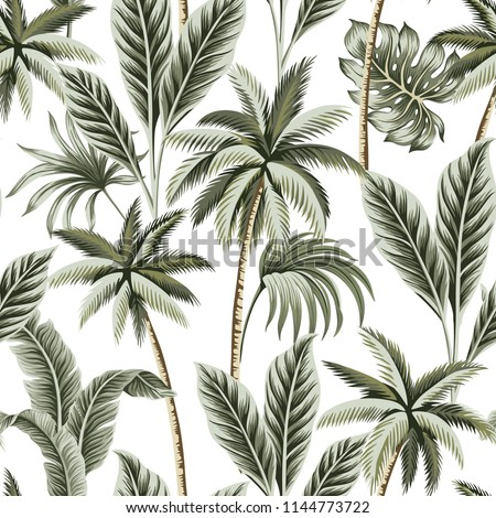 Tropical Vintage Hawaiian Palm Trees Banana And Leaves Floral Seamless Pattern White Background