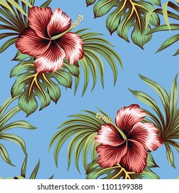 Tropical vintage hibiscus floral green leaves seamless pattern blue background. Exotic wallpaper