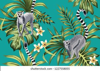 Tropical vintage lemur, plumeria flower, palm leaves floral seamless pattern green background. Exotic jungle wallpaper.