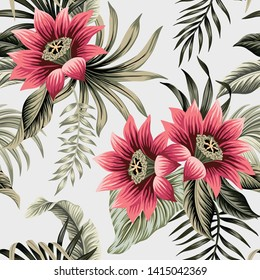 Tropical vintage lotus flower, palm leaves floral seamless pattern grey background. Exotic jungle wallpaper.
