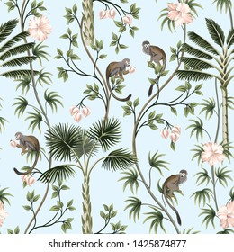 Tropical vintage monkey animal, hibiscus flower, peach fruit, palm leaves, liana  floral seamless pattern blue background. Exotic jungle wallpaper.