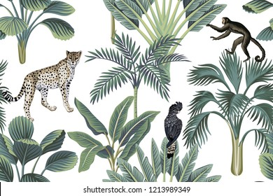 Tropical vintage monkey, leopards, black bird, palm trees, banana tree floral seamless pattern white background. Exotic jungle wallpaper.