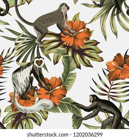 Tropical vintage monkey, red hibiscus flower, palm leaves floral seamless pattern white background. Exotic jungle wallpaper.