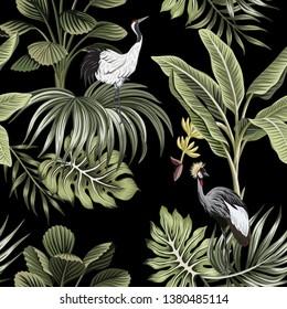 Tropical vintage night crane bird, palm trees, banana tree, palm leaves floral seamless pattern dark background. Exotic botanical jungle wallpaper.
