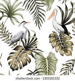 Tropical vintage palm leaves, heron, pelican floral seamless pattern white  background. Exotic jungle bird wallpaper.