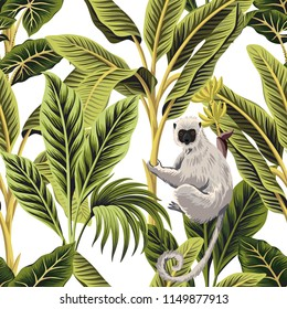 Tropical vintage palm trees, banana trees and lemur floral seamless pattern white background. Exotic jungle wallpaper.