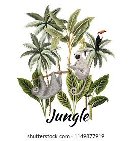Tropical vintage palm trees, banana tree, toucan and animals floral illustration. Exotic jungle art print.