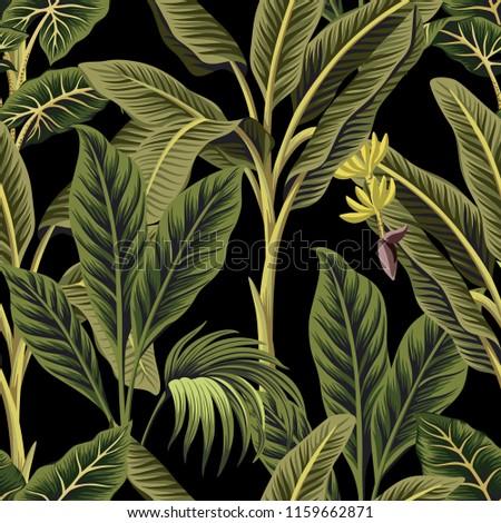 Tropical Vintage Palm Trees Banana Tree Floral Seamless Pattern Black Background Exotic Botanical Jungle