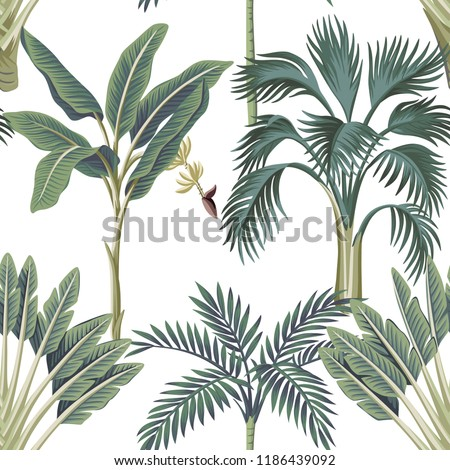 Tropical Vintage Palm Trees Banana Tree Floral Seamless Pattern White Background Exotic Botanical Jungle