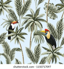 Tropical vintage palm trees, palm leaves, exotic bird and toucan floral seamless pattern blue background. Exotic jungle wallpaper.