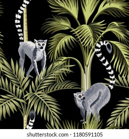 Tropical vintage palm trees and lemur floral seamless pattern black background. Exotic jungle wallpaper.