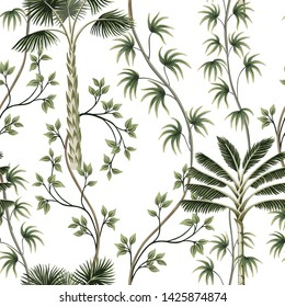 Tropical vintage palm trees, liana floral seamless pattern white background. Exotic jungle wallpaper.