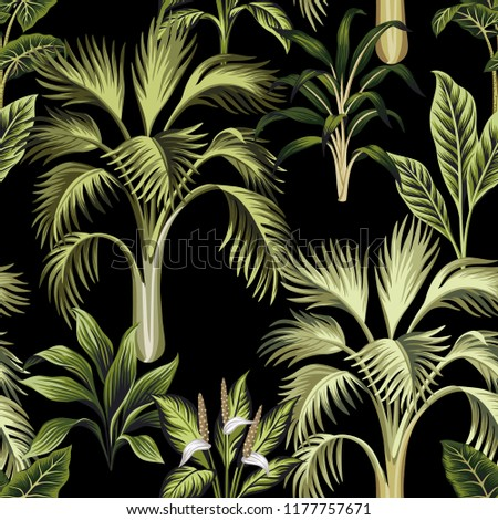 Tropical Vintage Palm Trees And Plants Floral Seamless Pattern Black Background Exotic Jungle Wallpaper