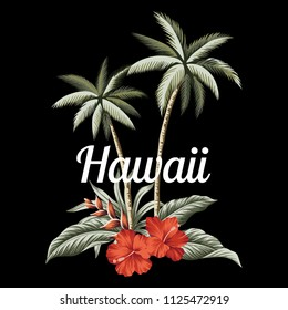 Tropical vintage palm trees, red hibiscus and banana leaves floral print. Vector clip art. Hawaii slogan illustration.