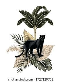 Tropical vintage panther animal, banana tree, palm leaves floral illustration. Exotic jungle summer print.