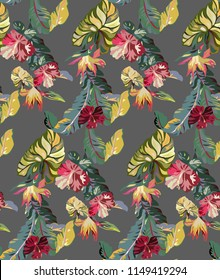 Tropical vintage pattern with flowers and palm leaves. exotic texture with hibiscuses and leaves in Hawaii style.