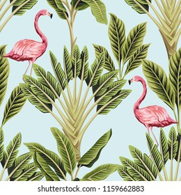 Tropical vintage pink flamingo and banana trees floral seamless pattern blue background. Exotic jungle wallpaper.